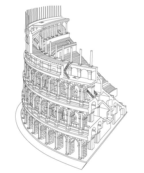 コロッセオ構造全体図線画