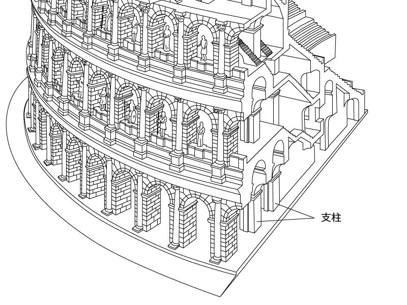 コロッセオ構造図支柱の線画