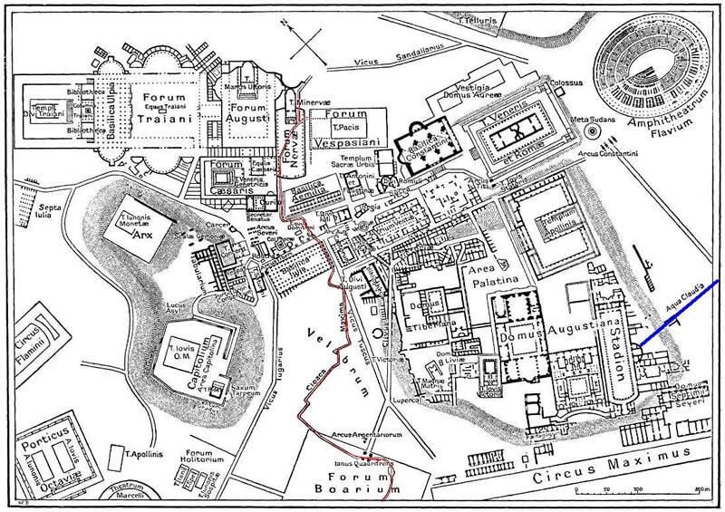 ローマ帝国時代のローマ中心部の地図。クロアカ・マキシマは赤い線で示されている。