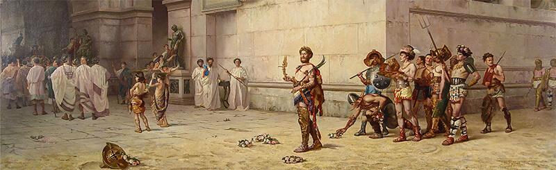 剣闘士姿のコンモドゥスの絵