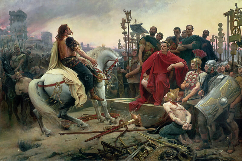 カエサルの軍門に降るウェルキンゲトリクス