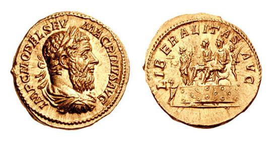 マクリヌスが刻まれた金貨の写真
