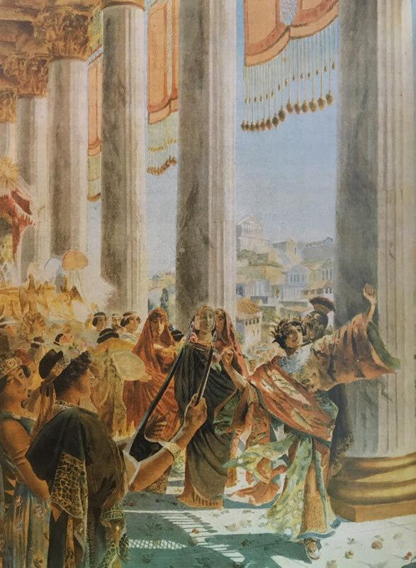 祭司団を引き連れて行進するエラガバルスの絵画