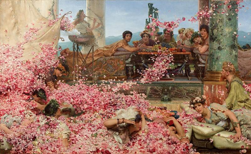花びらを宴会に降らせるエラガバルスの絵画