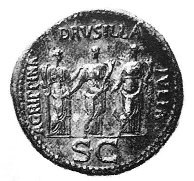 カリグラの妹たちを刻印したコインの写真