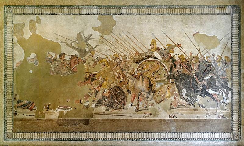 イッソスの戦いのモザイク画の画像