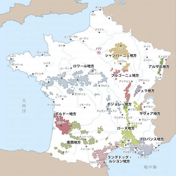 フランスのワイン生産地区地図