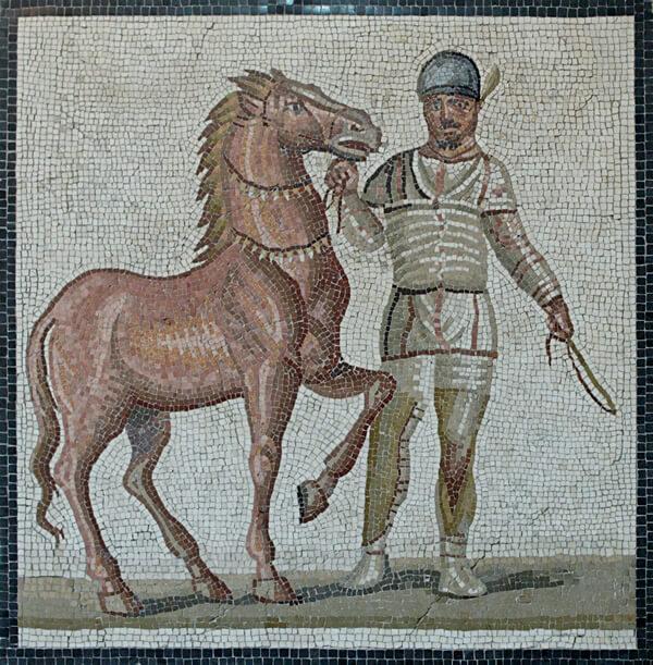 白チームと馬のモザイク