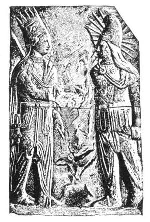太陽神とミトラ神の握手を描いたレリーフの図