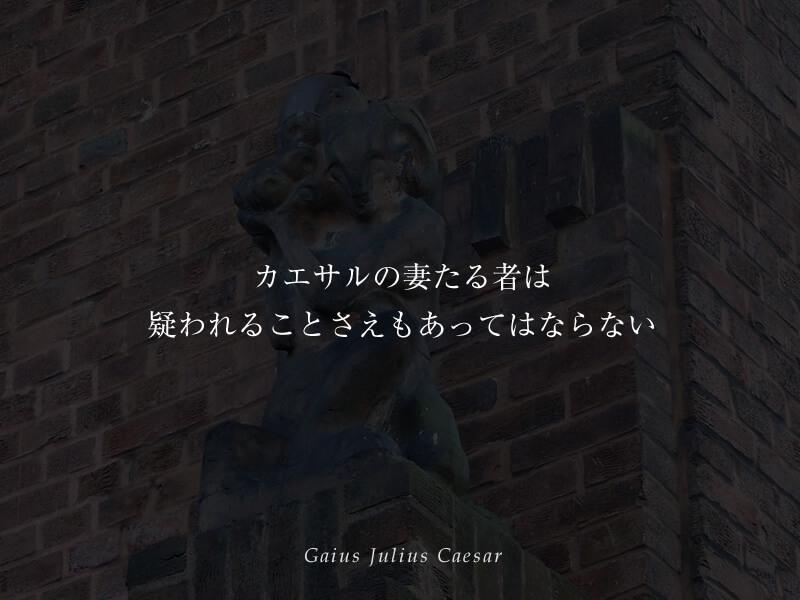 カエサルの妻たる者は、疑われることさえもあってはならない ガイウス・ユリウス・カエサル