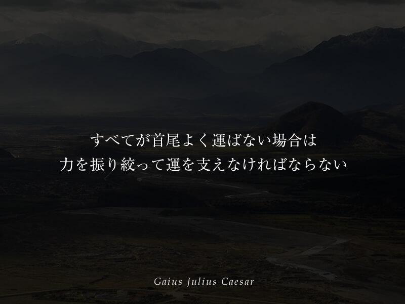 すべてが首尾よく運ばない場合は、力を振り絞って運を支えなければならない ユリウス・カエサル
