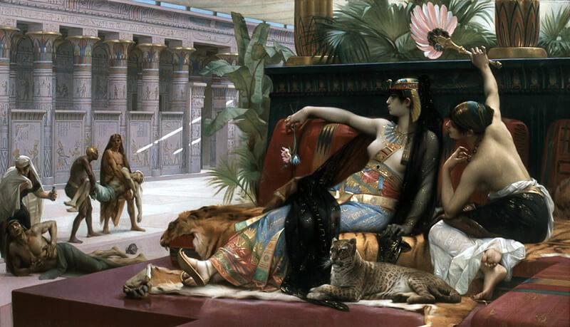 死刑囚に毒を試すクレオパトラの絵画
