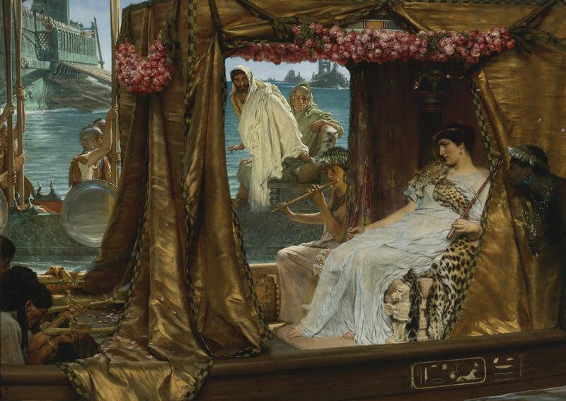 豪華遊覧船で川を遡るクレオパトラの絵