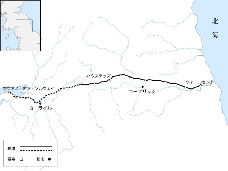 ハドリアヌスの長城の位置の地図